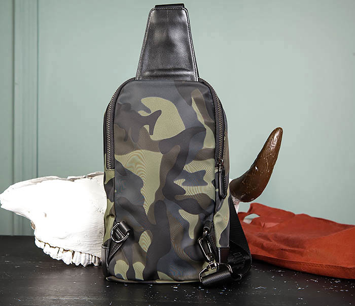 BAG489-3 Тканевая мужская сумка «банан» с одной лямкой фото 05