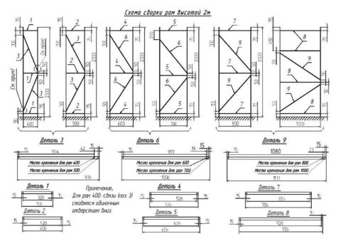Металлический стеллаж усиленный (глубина 1000, высота 2000 мм)