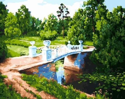 Картина раскраска по номерам 50x65 Мост через реку с кувшинками