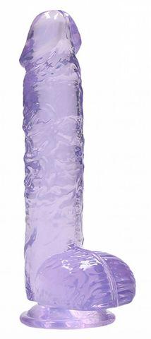 Фиолетовый фаллоимитатор Realrock Crystal Clear 9 inch - 25 см.