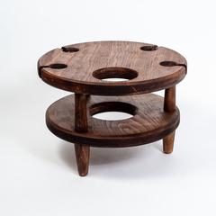 Винный столик из Сибирского Кедра со съемной чашкой, фото 2