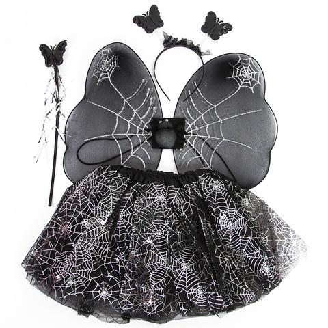 Набор (ободок, крылья, юбочка, волшебная палочка) Колдунья, Черный