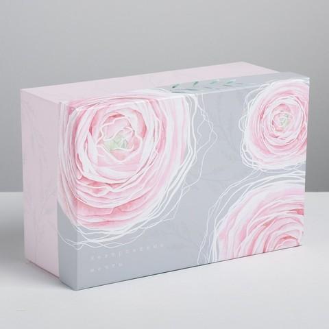 Коробка ЦВЕТЫ прямоугольная 28х18,5х11,5