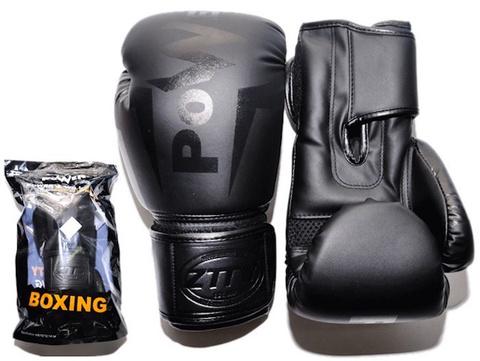 Перчатки бокс 10oz, 100% кожзам, многосл. н-ль из вспененного полиуретана, цв. черн. Q116 Ч-10