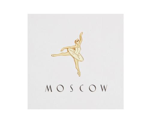 Значок металлический Балерина в белом