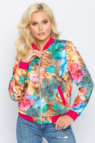 Бомбер (цветы малина),. <p><span>Хит! Модный бомбер, у которого в этом сезоне нет конкурентов. Бомбер прекрасно дополнит множество модных образов. Функциональные карманы. По переду замок.</span></p>