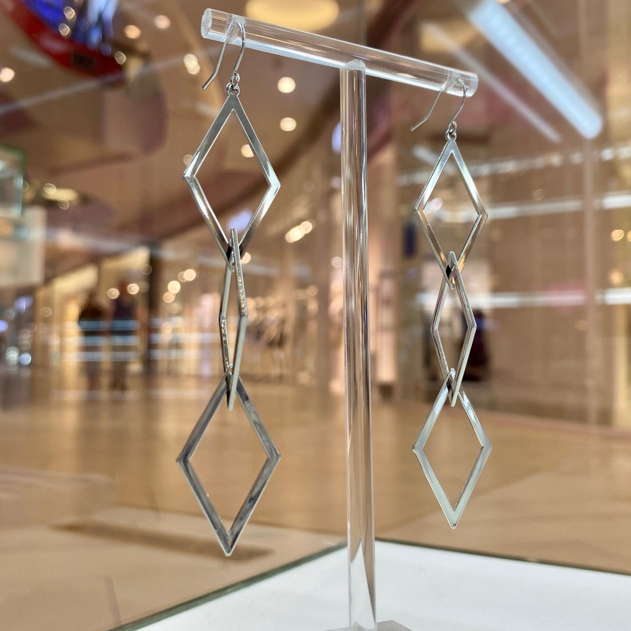 Серьги-подвески с тремя ромбами (серебристый)