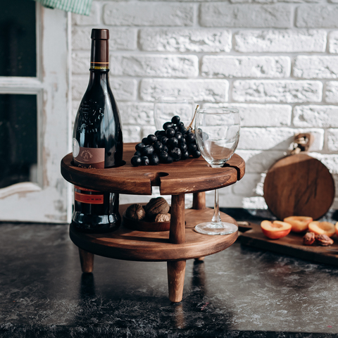 Винный столик из Сибирского Кедра со съемной чашкой