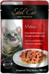 Пауч для кошек Edel Cat нежные кусочки в соусе, печень, кролик