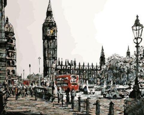 Картина раскраска по номерам 50x65 Черно-красный город