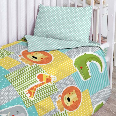 Папитто. Комплект постельного белья из бязи с простыней на резинке Африка