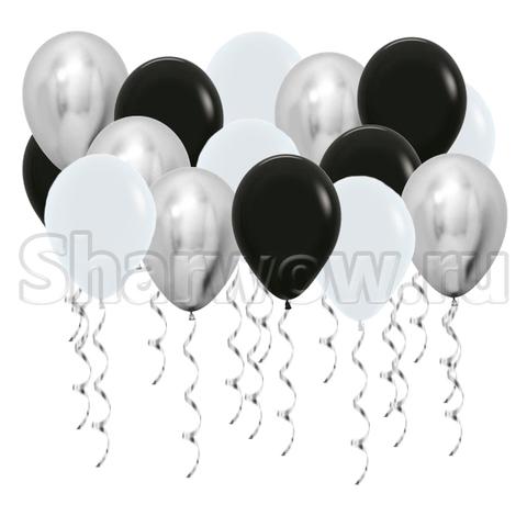 Воздушные шары с гелием под потолок Серый, серебро хром, черный