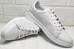 Модние туфли кеды с перфорацией женские Evromoda 141-1511 White Leather.