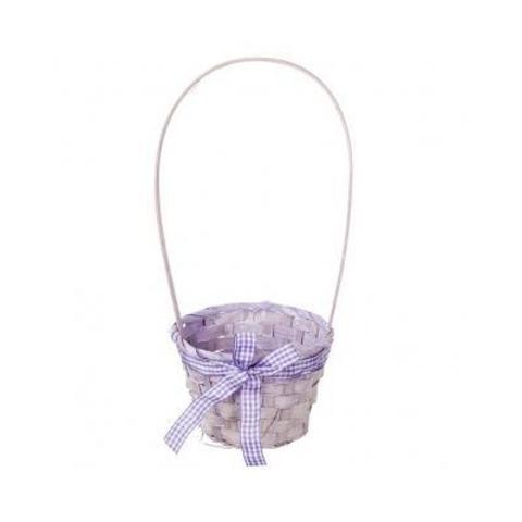 Корзина плетеная (бамбук), D13x9xH31см, фиолетовый