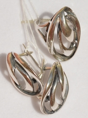 Шторм (кольцо + серьги из серебра)