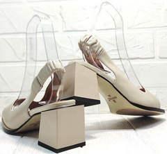 Молодежные босоножки с толстым каблуком Brocoli H150-9137-2234 Cream.
