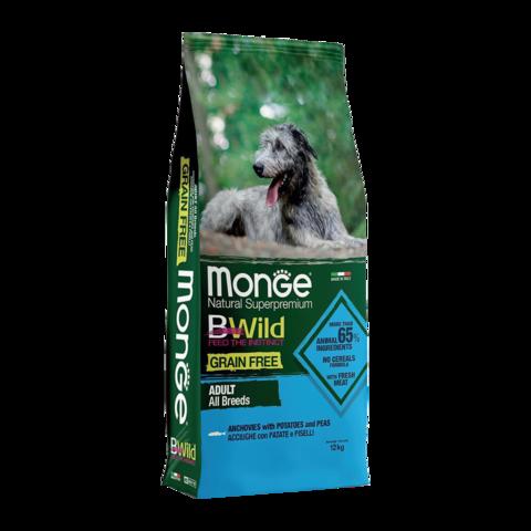 Monge Dog BWild Grain Free Сухой корм для собак всех пород из анчоуса c картофелем, беззерновой