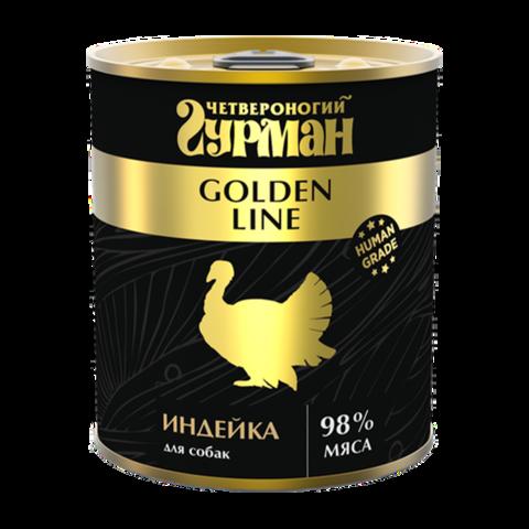 Четвероногий Гурман Golden Консервы для собак с натуральной индейкой в желе (Банка)
