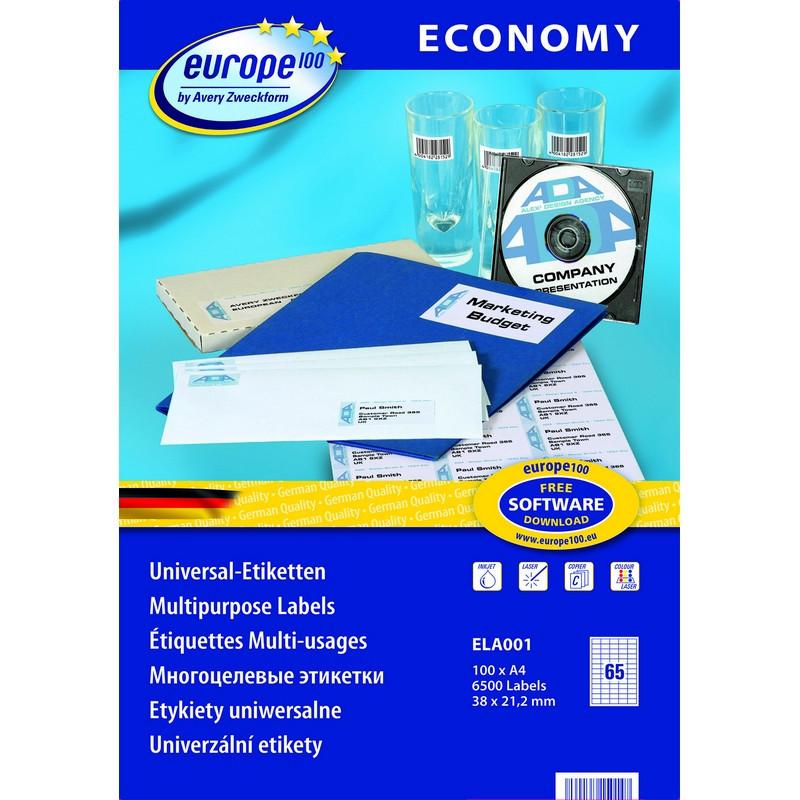 Этикетки самоклеящиеся Europe 100 белые 38х21.2 мм (65 штук на листе А4, 100 листов, артикул производителя ELA001)