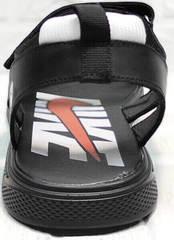 Мужские кожаные сандалии босоножки с открытой пяткой Nike 40-3 Leather Black.