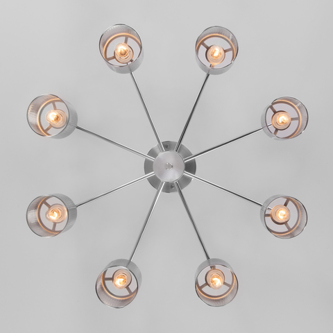 Хромированная люстра с металлическими абажурами 70109/8 хром
