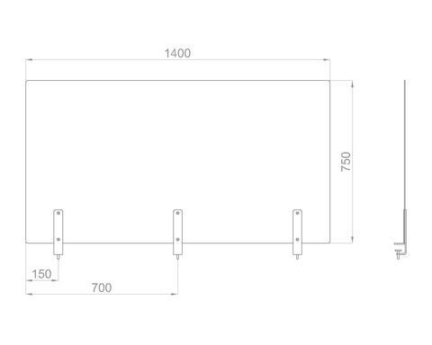 Настольный экран на струбц. Ш.1400мм В.600/750 мм