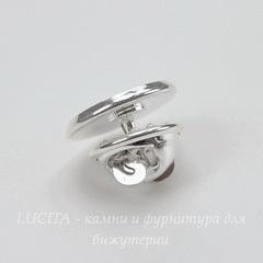 Основа для броши - значка из 2х частей с сеттингом для кабошона 12 мм, 14х10 мм (цвет - серебро)