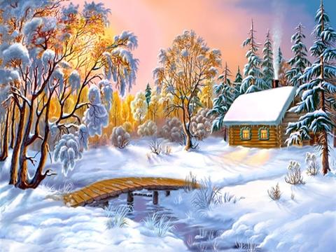 Картина раскраска по номерам 50x65 Зимний уют