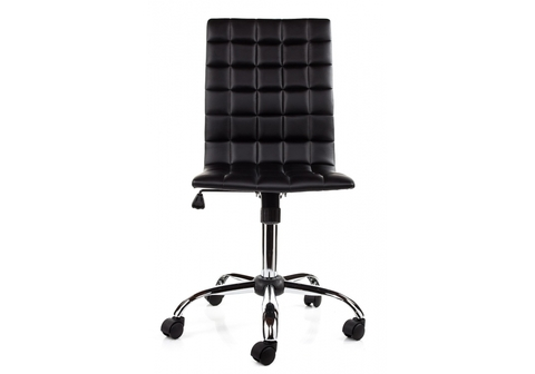 Офисное кресло для персонала и руководителя Компьютерный стул Strong черный 43*43*91 Хромированный металл /Черный кожзам