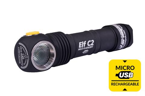 Мультифонарь светодиодный Armytek Elf C2 Micro-USB+18650, 980 лм, теплый свет, аккумулятор