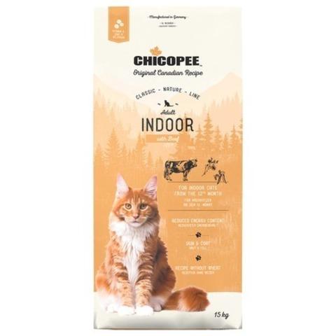 15 кг. Chicopee CNL Cat Adult Indoor сухой корм для домашних кошек с говядиной