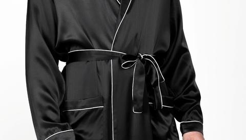 Мужской  халат из натурального щелка Luxe Dream черный
