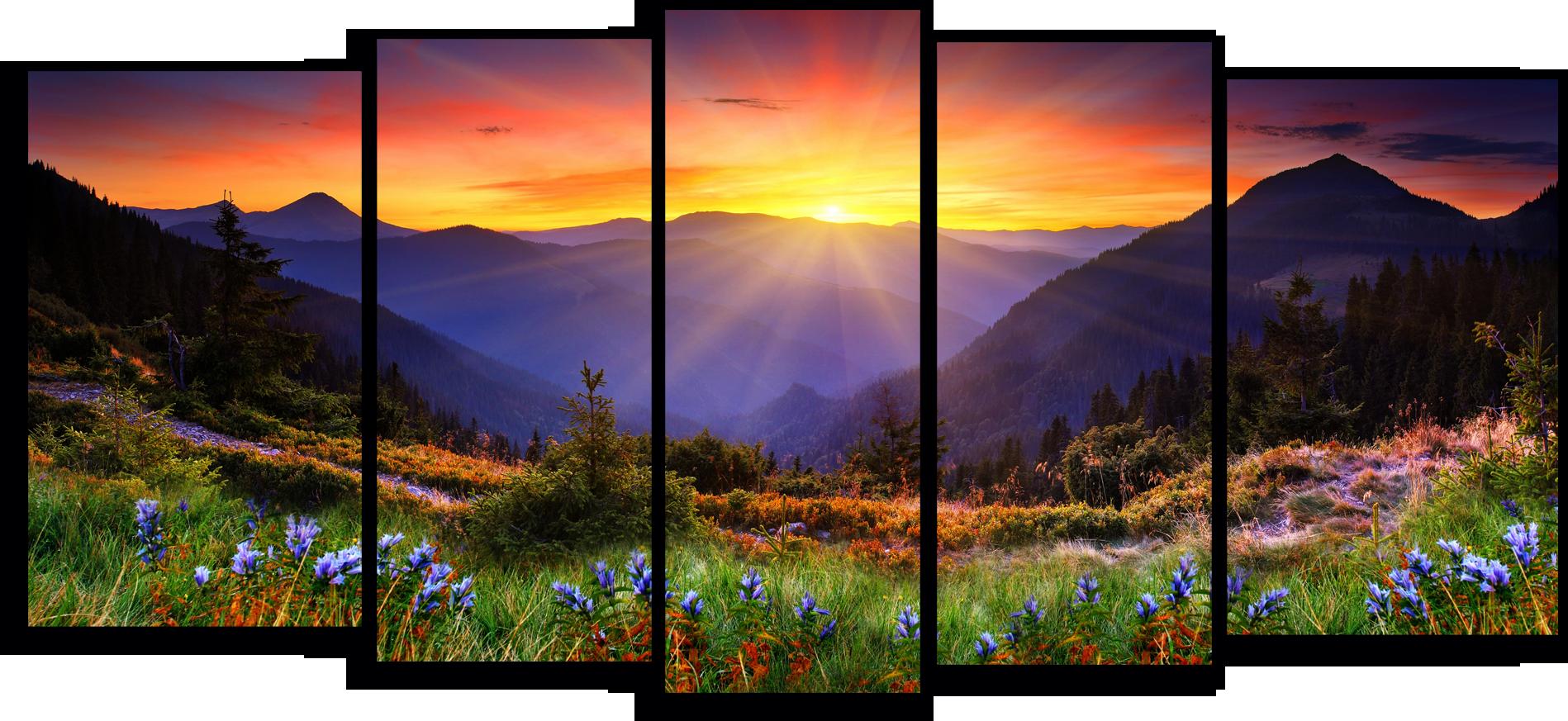 """Природа Модульная картина """"Лучи рассветного солнца в горах"""" М784.png"""
