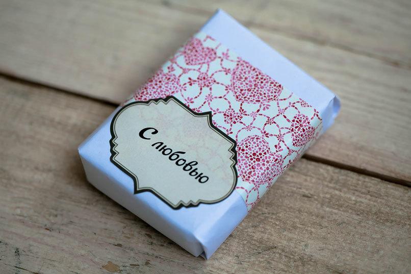 Этиклейка на упаковку для мыла Сердечки
