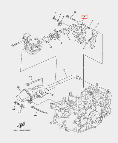 Коллектор впускной для лодочного мотора F20 Sea-PRO (6-1)