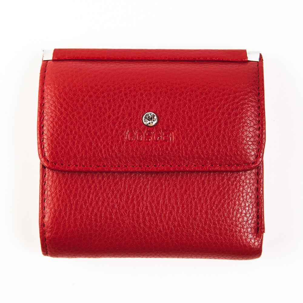 Недорогой маленький квадратный 10х10 см красный женский кошелёк из искусственной кожи с отделением для мелочи и со стразиком на кнопке Coscet CS404-108B в фирменной коробке