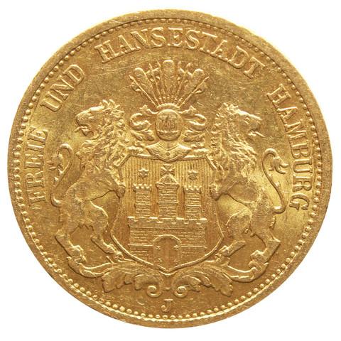 20 марок 1878 Германия-Гамбург XF Золото