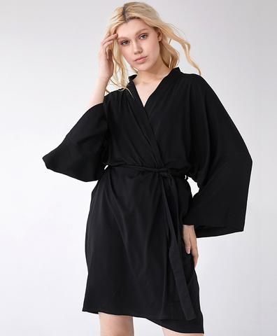 Кимоно из вискозы черное короткое