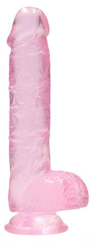 Розовый фаллоимитатор Realrock Crystal Clear 9 inch - 25 см.