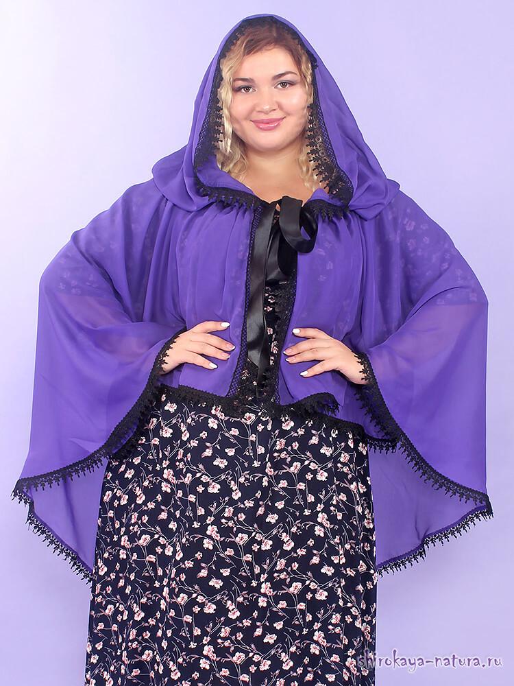 Шифоновая шаль-накидка Очарование фиолетовый