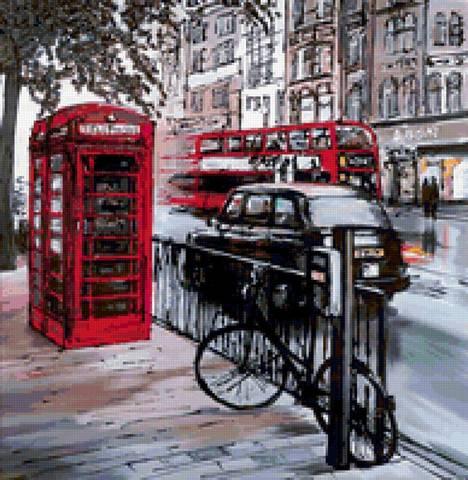 Картина раскраска по номерам 50x65 Черно-красная улица Лондона