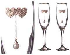 Набор бокалов для шампанского из 2 шт. с золотой каймой 170 мл, фото 1