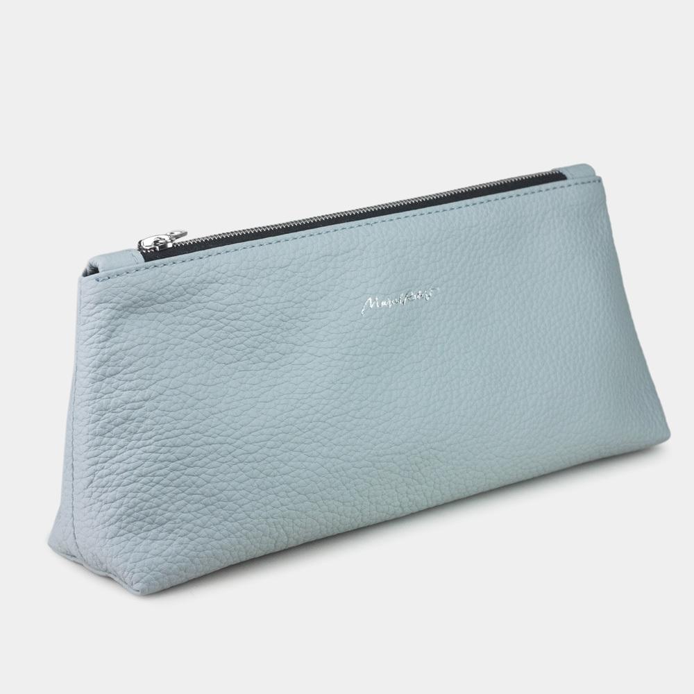 Женская косметичка Flocon Easy из натуральной кожи теленка, голубого цвета