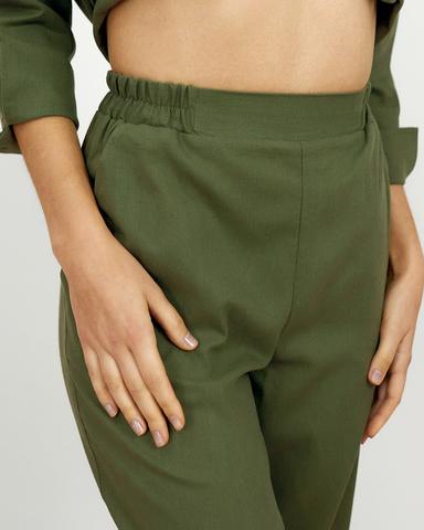 Льняные брюки Хаки