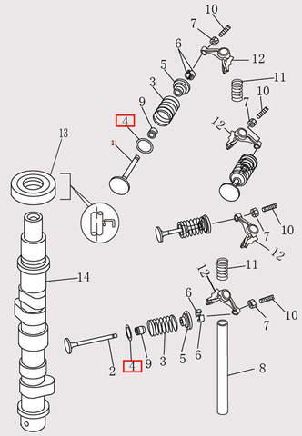 Седло пружины клапана для лодочного мотора F9.8 Sea-PRO (4-4)