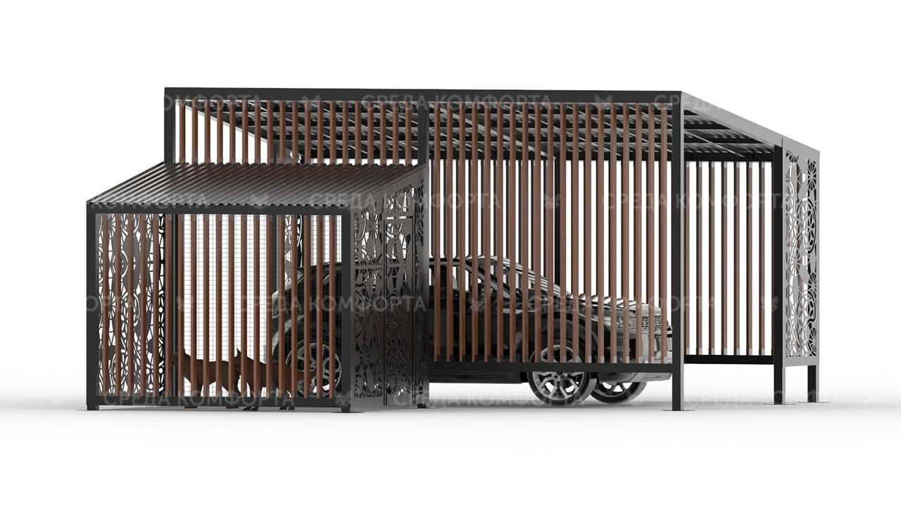 Навес для авто с будкой для собаки AVNVS0044