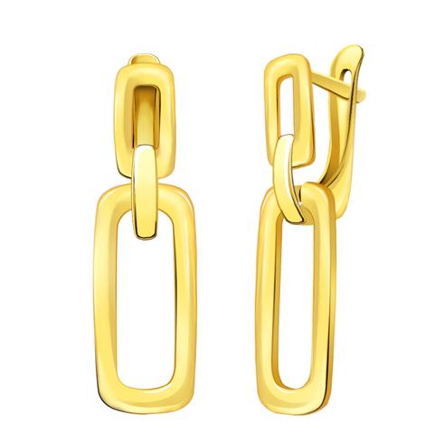 л20710- Стильные серьги из лимонного золота в итальянском стиле