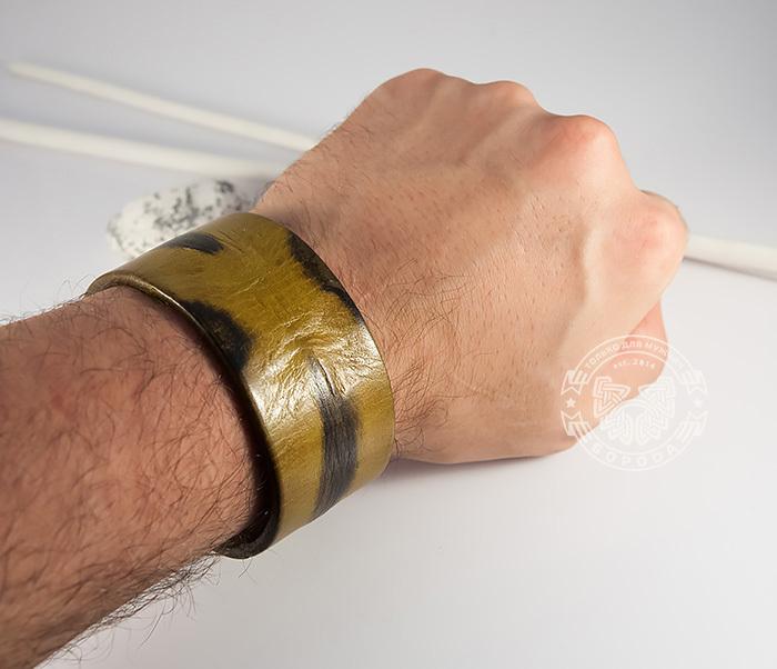 BL436-2 Яркий мужской браслет из натуральной кожи рыжего цвета (22 см) фото 08