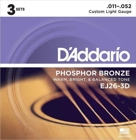 D'ADDARIO EJ26-3D 3-PACK ACOUS GTR PB CST LITE Струны для акустической гитары