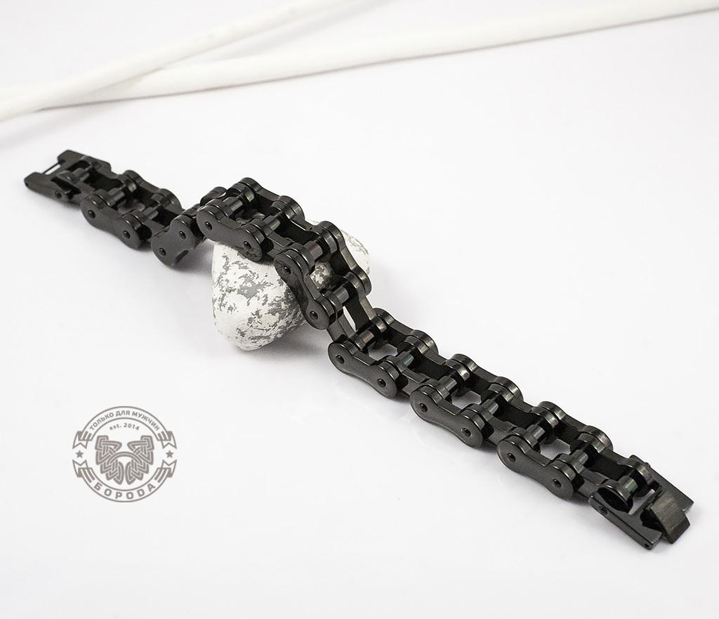 BM123 Стильный стальной браслет «Цепь» черного цвета (22 см) фото 03
